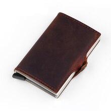BISI GORO Mode Brieftasche Aus Echtem Leder Unisex Visitenkarte Halter Metall Rfid Blocking Mini Schlanke Brieftasche Haspe Reise Geldbörse