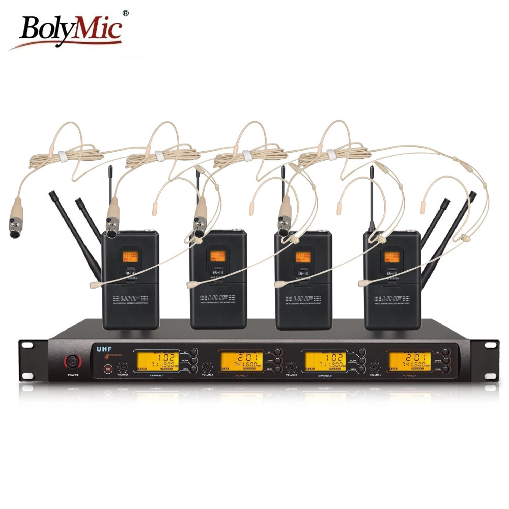 Bolymic Professional 4 X 100 Channels UHF wireless beige headset microphone system