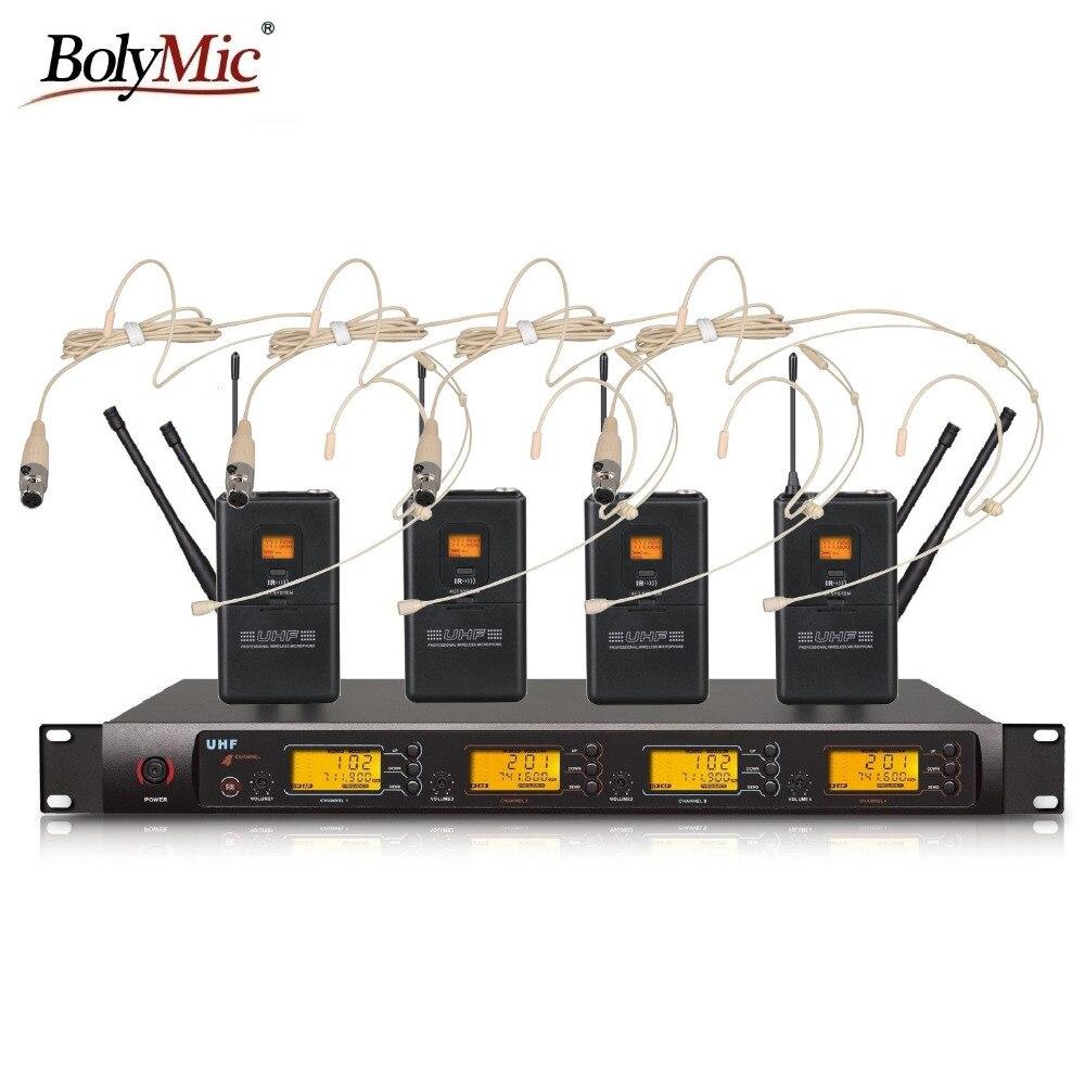 Bolymic Professionele 4X100 Kanalen UHF draadloze beige headset microfoon systeem-in Microfoons van Consumentenelektronica op  Groep 1