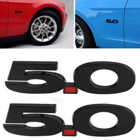 1pc Logo 5 0 Side Fender Emblem Badge Sticker Fits For Replacement Ford Mustang Black Silver