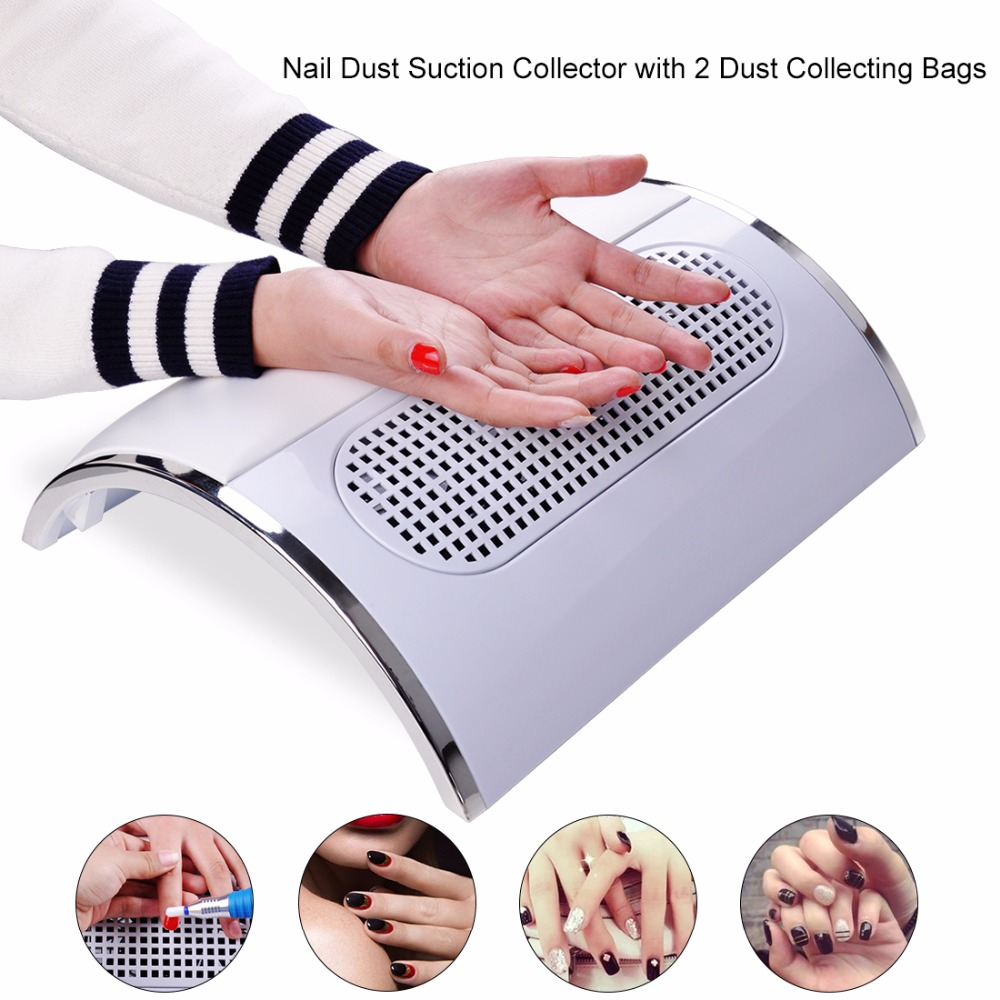 Biutee Powerful Nail Dust Suction Collector with 3 Fan Vacuum Cleaner Manicure Tools with 2 Dust
