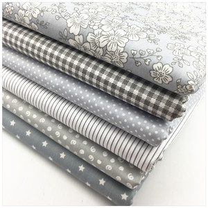 Cotton Fabric Diy Sewing Patchwork Quilting Doll Cloth Handmade Needlework Material Telas to Patchwork Gray flower dot Stripe