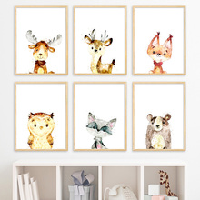 Elk Bear Owl Fox Cat Deer Nursery Nordic Posters And Prints Wall Art Canvas Painting Animals Pictures Baby Kids Room Decor