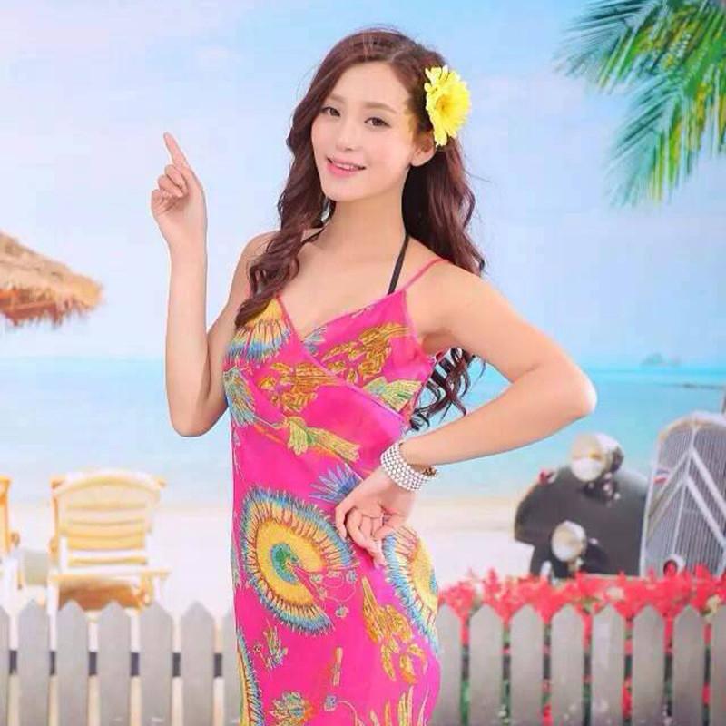 Women Beach Dress Swimwear Sexy Sling Beach Wear Dress Sarong Bikini Cover-ups Wrap Pareo Skirts Towel Flower Open-Back Swimsuit 13
