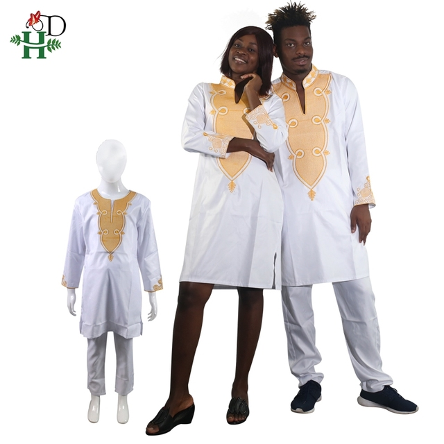 2019 mens clothes african clothing for men and women couple dress white dashiki embroidery kid boy family clothes