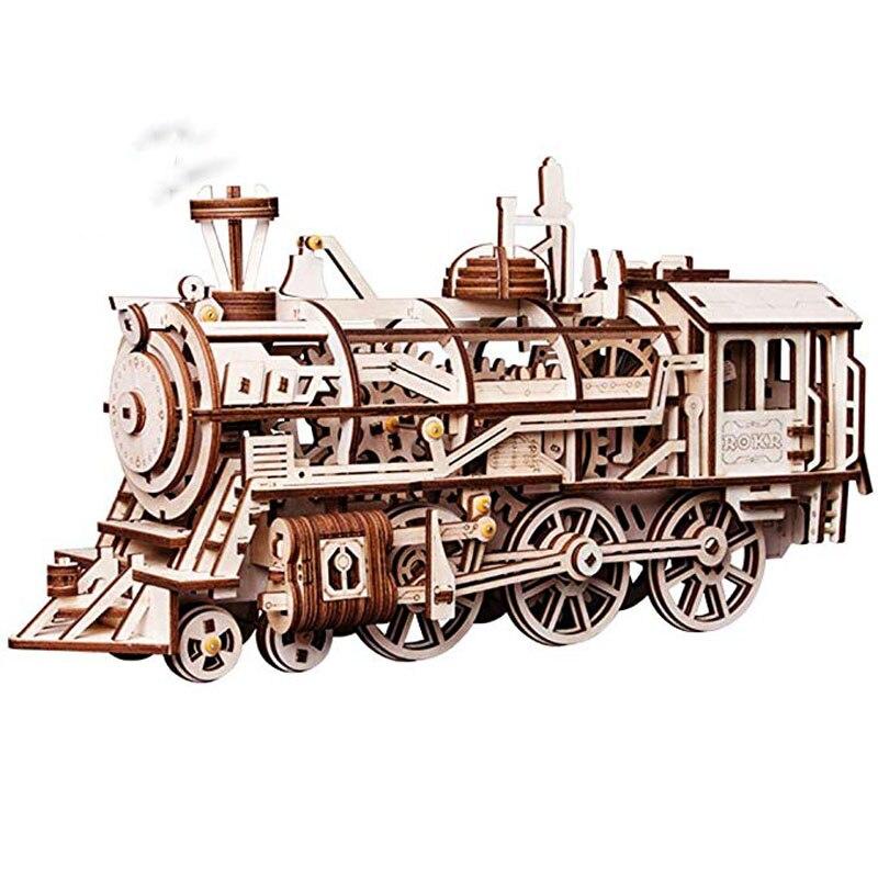 Assemblage 3D Puzzle en bois Kit de Locomotive découpé au Laser engrenages mécaniques jouet jeu de casse-tête meilleurs cadeaux d'anniversaire pour garçons et adultes