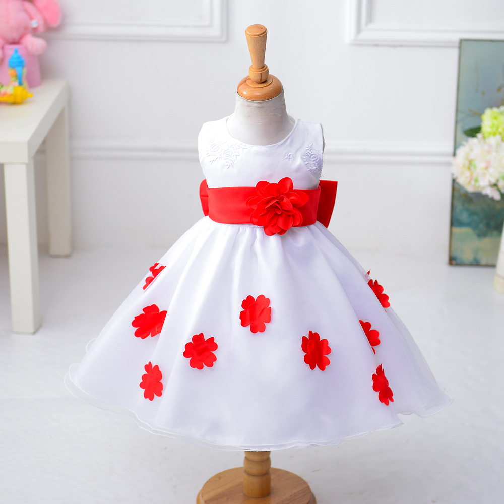 Age 3- 9T Flower girl dress children wedding dress girls kids princess dress size 3t 4 5 6 7 8 9 years old korean version of the girls winter velvet dress children s lace dress princess dress new child dress age from 3 9t