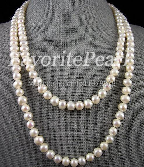 Pearl Necklace , Wedding Jewelry 46 Inches 8-9mm Genuine White Color Freshwater Pearl Necklace Handmade Jewelry Free Shipping