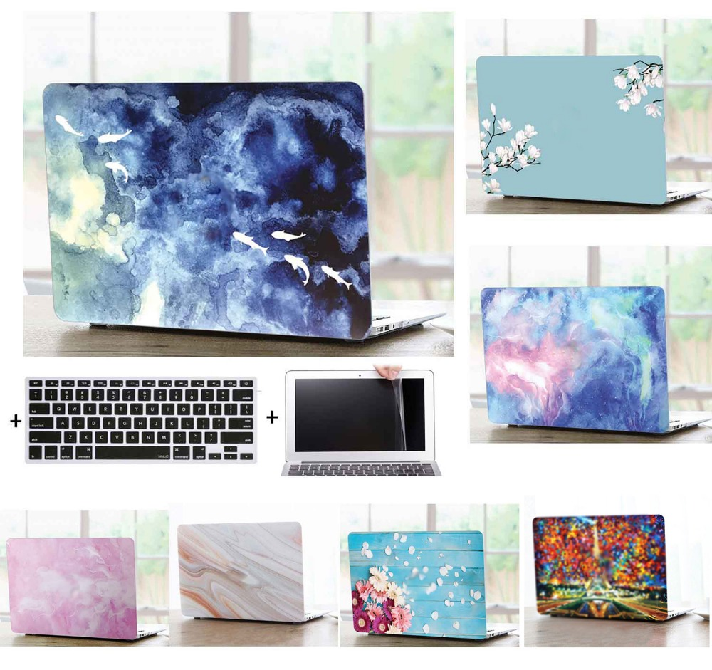 Laptop Shell Case Keyboard Cover Screen Film Protector For 11 12 13 15 quot Apple 2018 Macbook Air Pro A1989 A1990 A1706 A1708 TD in Laptop Bags amp Cases from Computer amp Office