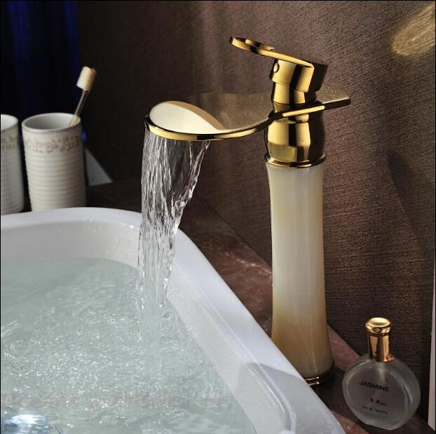 Euro Luxury Gold Bathroom Basin Faucet Single Handle Vanity Sink Mixer water Tap Brass and Jade Basin Waterfall Faucet donyummyjo luxury bathroom basin faucet brass golden polish swan shape single handle hot&cold water vanity sink mixer tap page 8