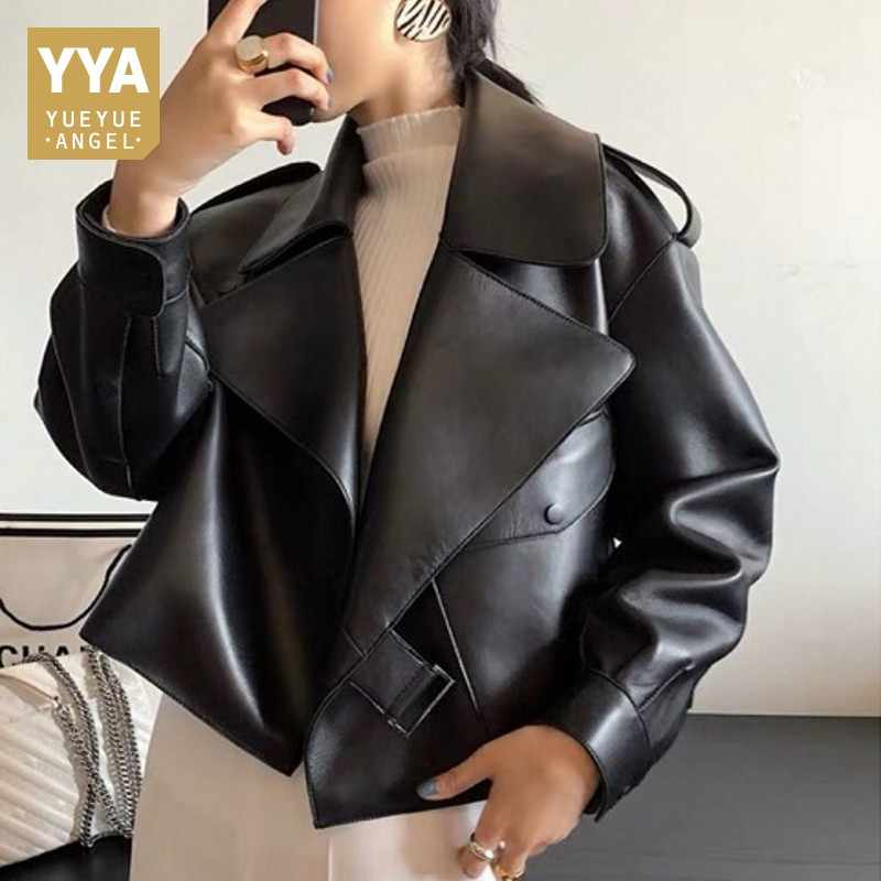 2019 Fashion Genuine Leather Jacket Women Pockets Biker Sheepskin Leather Coat Autumn Spring Ladies Real Leather Jacket Loose