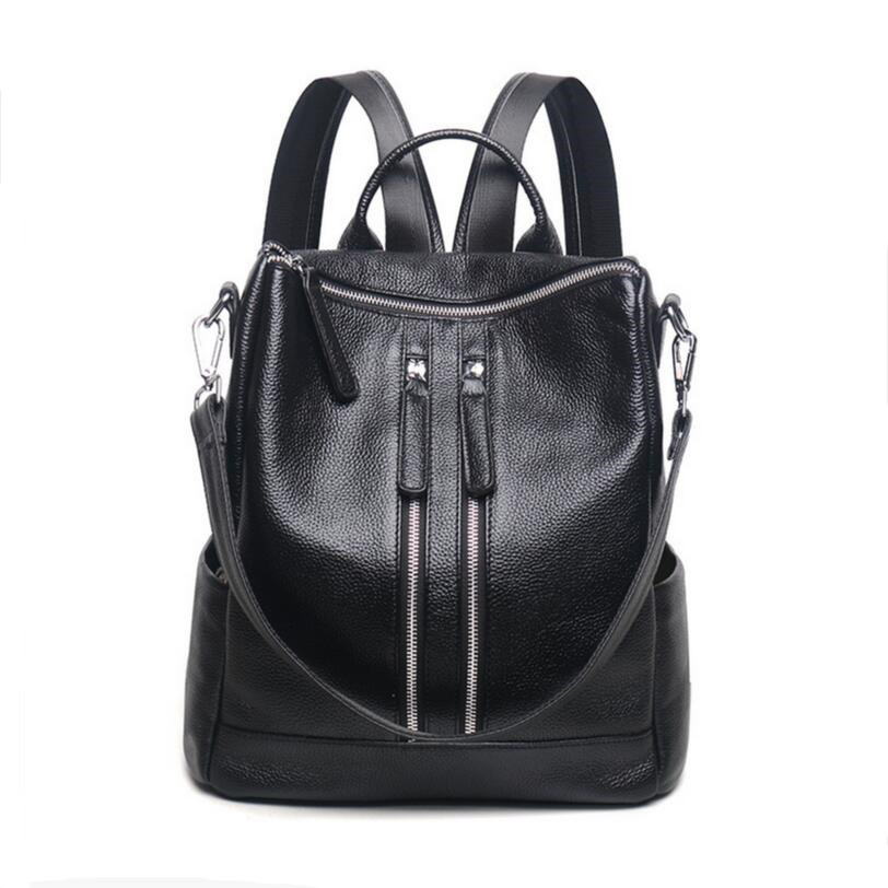 black leather backpack laptop bag womens genuine leather backpacks for teenage girls bagpack travel backpack women