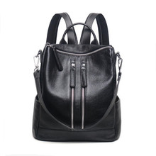 Черный кожаный рюкзак ноутбук сумка женская из натуральной кожи рюкзаки для девочек-подростков bagpack путешествия рюкзак женщин сумка