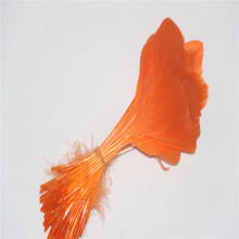 100 tear goose head 15-20cm (6-8 inches) dyed orange color jewelry accessories, decorative craft feathers,