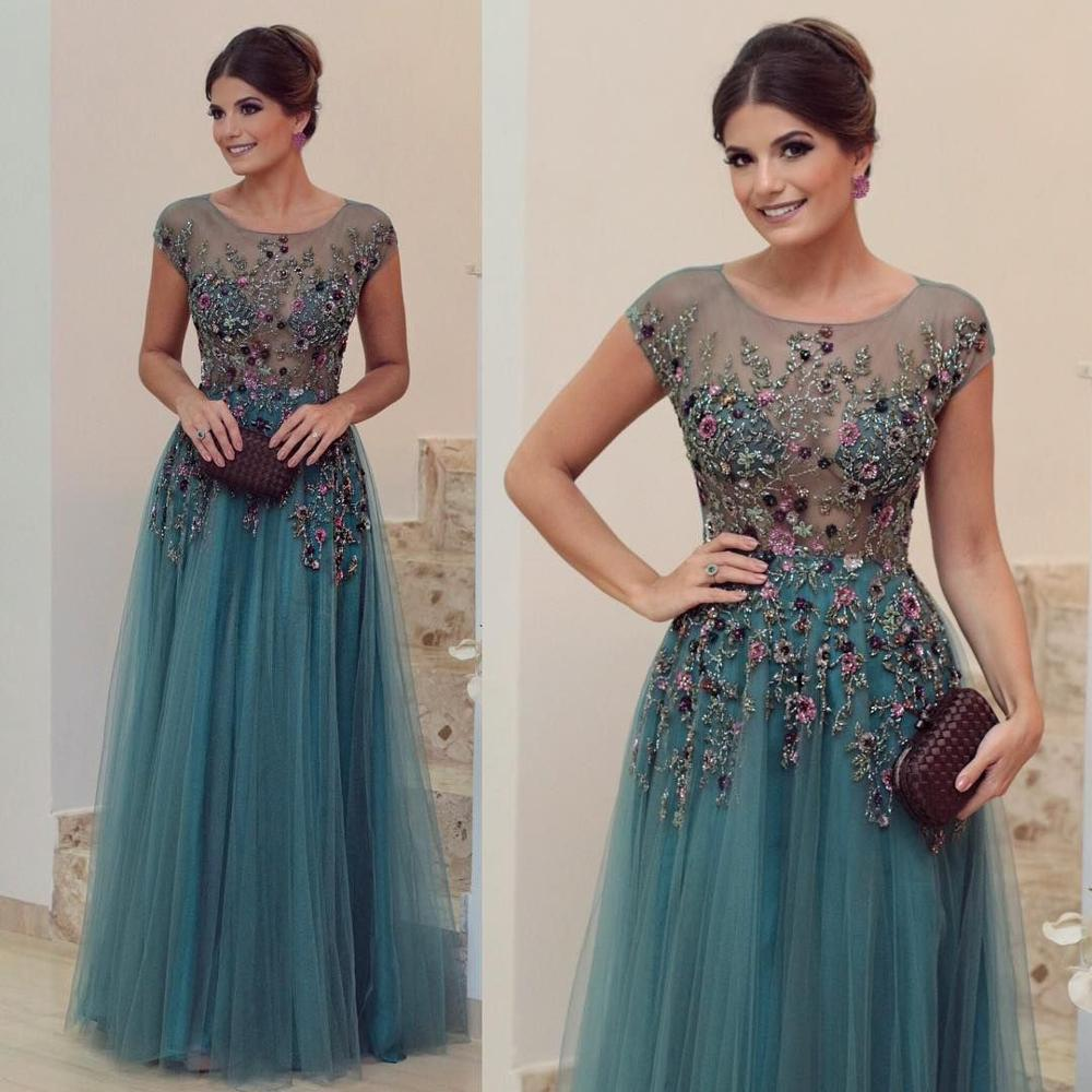 Evening-Dresses Sleeves Hunter Formal Beading Robe-De-Soiree Cap Green The of Illusion