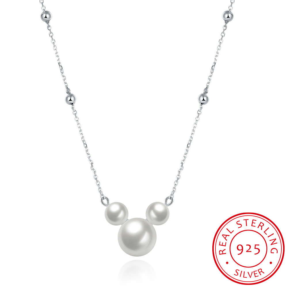 SILVERHOO 925 Sterling Silver Pearl Necklaces Womens Three Pendant  Wedding Lovely Mickey Shape