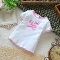 Бесплатная доставка 2016 летняя девочка с коротким рукавом футболка для девочек одежда дети летней одежды девушка возглавляет