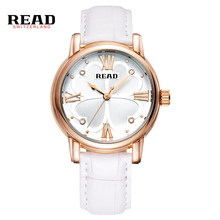 READ new fashion Four leaf clover design womens watches top brand luxury white strap for leather