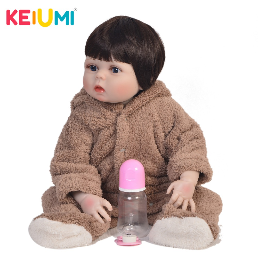 Real 23 Inch Full Silicone Baby Doll 100% Handmade Lifelike Reborn Babies Girl Toy For Kid Christmas Gift Bedtime PlaymateReal 23 Inch Full Silicone Baby Doll 100% Handmade Lifelike Reborn Babies Girl Toy For Kid Christmas Gift Bedtime Playmate