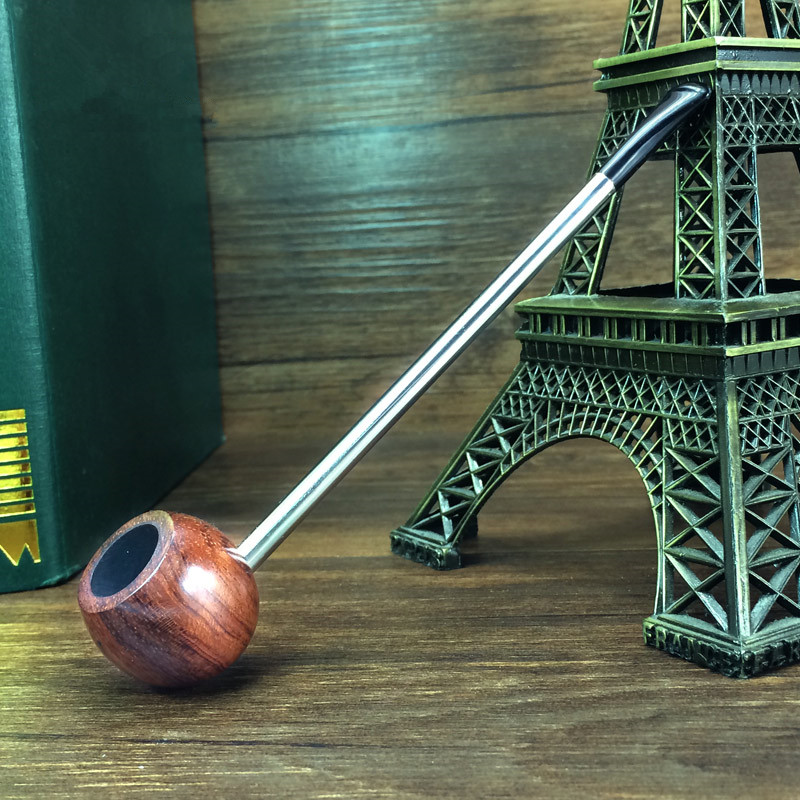 Rosewood Popeye Type Straight Type Smoking Pipe Wooden Tobacco Pipe for Smoking Weed Pipe W/ Food-grade Plastic Mouthpiece