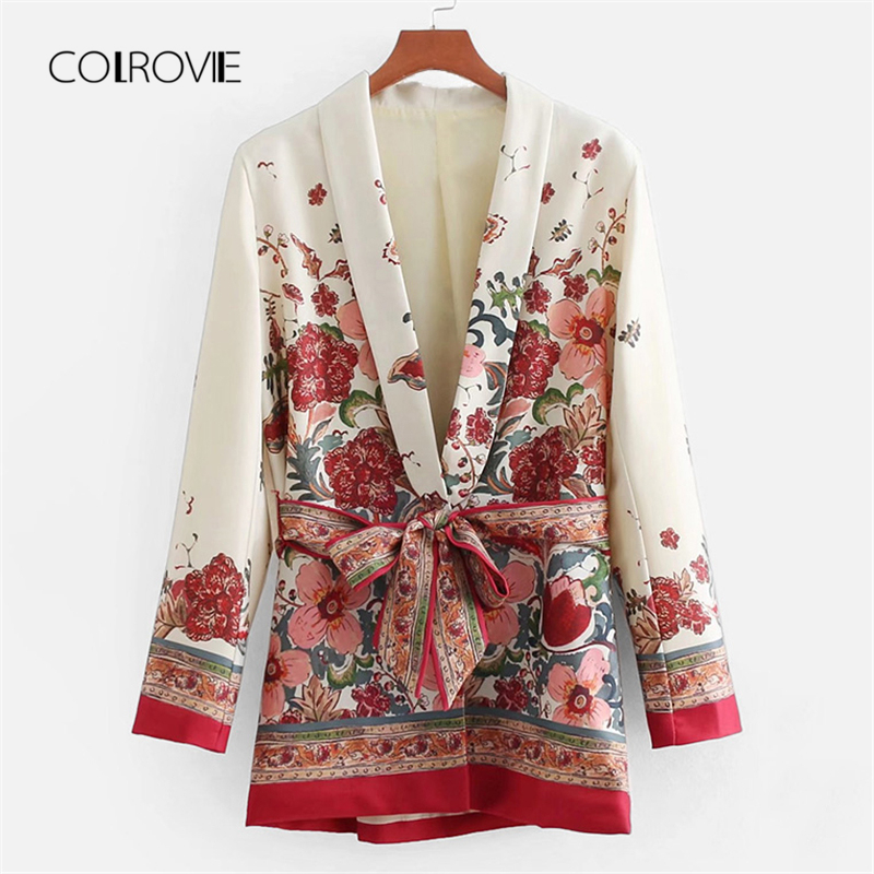 COLROVIE Self Tie Floral V Neck Coat 2018 New Spring Multicolor Long Sleeve Women Coat Shawl Collar Casual Belted Jacket Coat