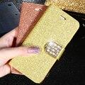 De lujo de bling del brillo del diamante del caso del tirón para apple iphone 6 6 s 7 7 Más 5.5 de la Muchacha de Cuero Bolsa de Soporte de la Carpeta Rhinestone Del Brillo cubierta