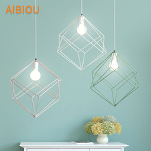 AIBIOU Designer LED Pendant Light With Metal Lampshade For Dining Room White Lamp E27 Hanging Bar Luminaira