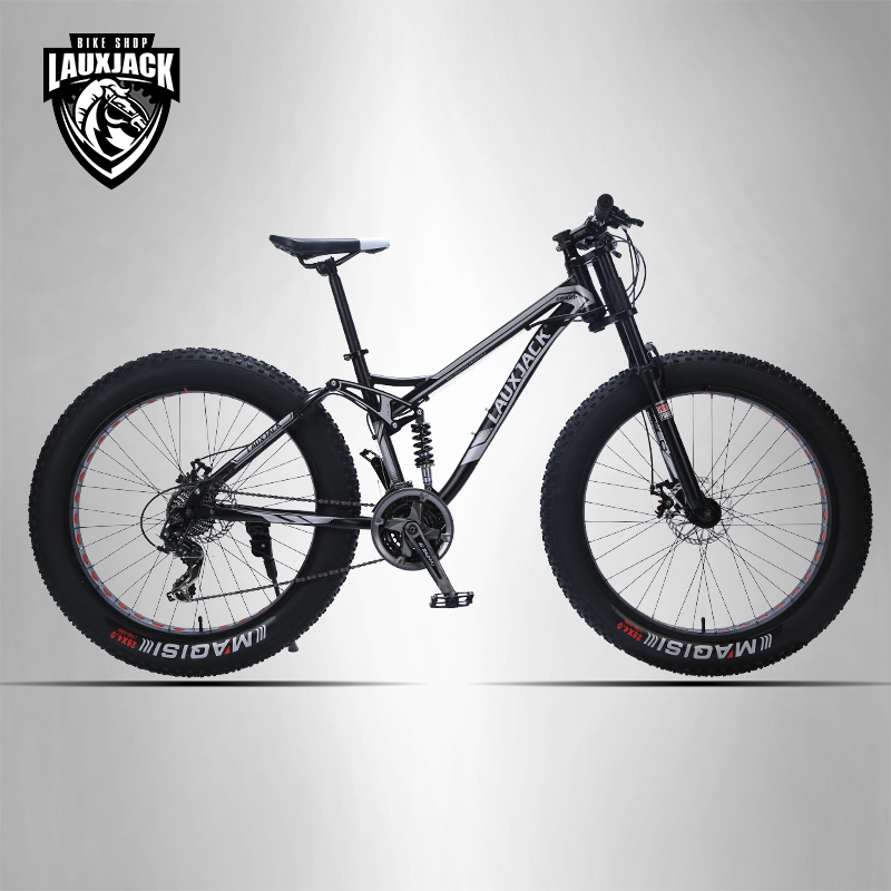 LAUXJACK Mountain bike steel frame 24 speed Shimano mechanical brakes 26 x4.0 wheels long fork FatBike