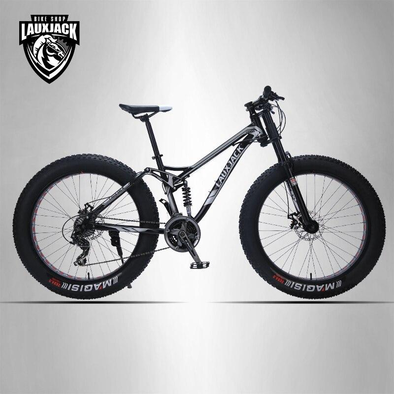 LAUXJACK vtt cadre en aluminium 24 vitesse Shimano freins mécaniques 26 x4.0 roues longue fourchette FatBike