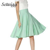 Summer Skirts Womens Vintage High Waisted Candy Mint Green Pink Lush Pleated Flare Midi Skirt Jupe
