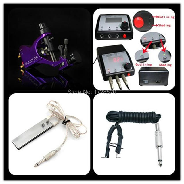 Beginner Tattoo Kit Tatoo Machine LCD Power Supply  Foot Switch Clip Cord Tattoo Equipment Set Diy TATTOO KITS FREE SHIPPING