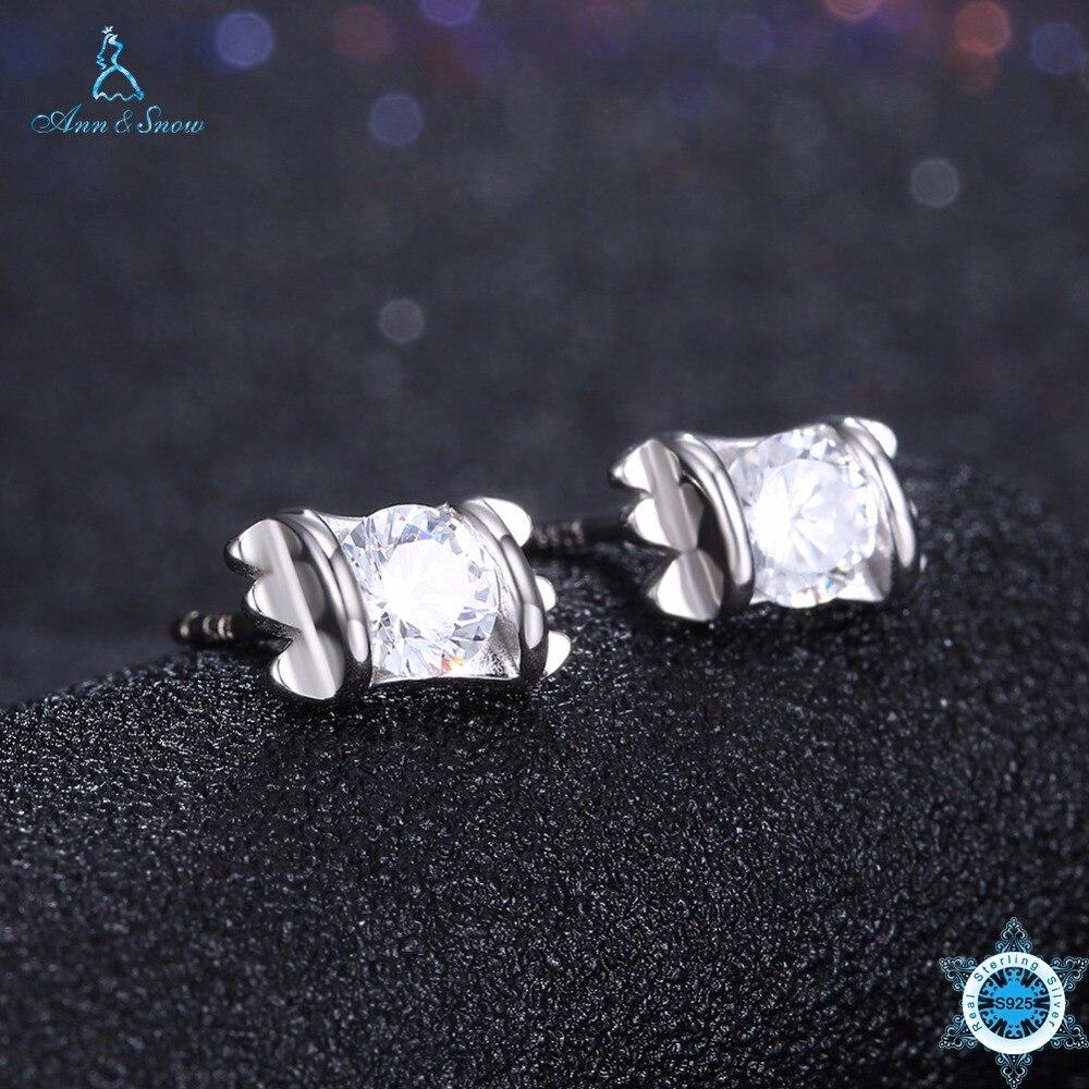 Ann & Schnee Neue Ankunft 925 Sterling Silber Ohrringe Klar Cz Zurückschieben Ohrstecker Für Frauen Modeschmuck