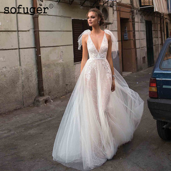 Sexy Ivory Lace Summer Backless Appliques Wedding Dress Robe De Mariee Sofuge Boho Dubai Arabic Abiti Da Sposa Long Dresses