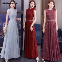 Sequin 2019 New Women's Elegant Long Gown Proms For Grautuating Date Ceremony Gala Evening Maxi Dresses Solid Red Party Vestidos