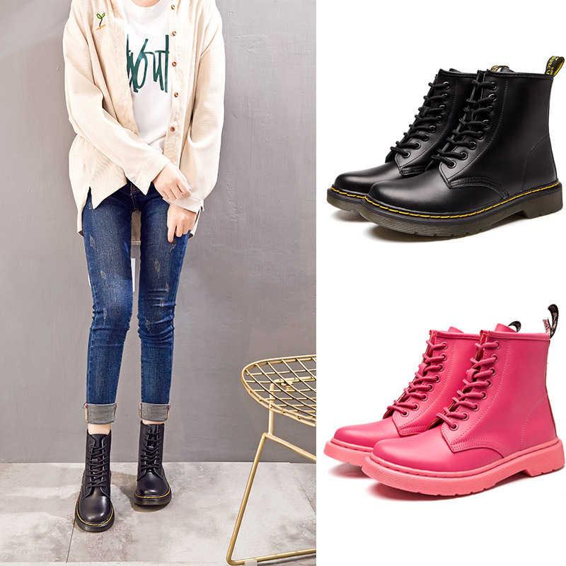 Kadın botları klasik hakiki deri ayakkabı kadın sonbahar kış çizmeleri deri Punk ayak bileği Botas Mujer kürk kış Chaussures Femme