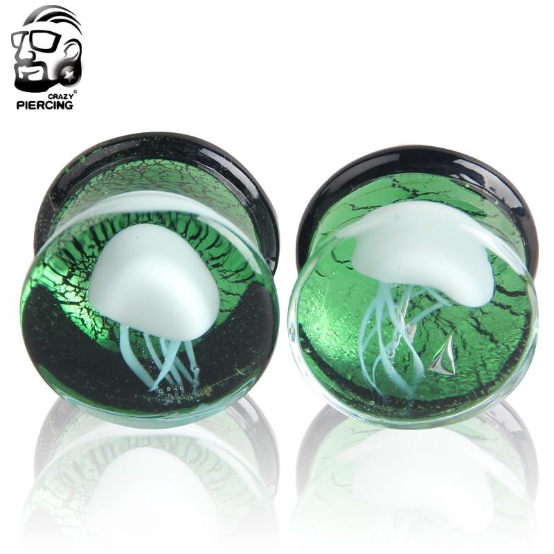 8 16mm Wholesale Green Glass Ear Plug Tunnel Ear Stretcher Expander Body PiercingJewelry White Jellyfish Ear