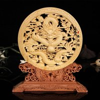 Wood carving handicrafts Loong Phoenix fish animal flowers Chinese word desktop Decoration home decorations ornaments.