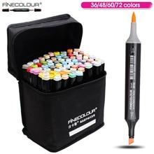 Манга finecolour 36 48 60 72 цвета художник двуглавый Brush Маркеры Copic Эскиз Маркер Алкоголь Маркер для Дизайна и художники