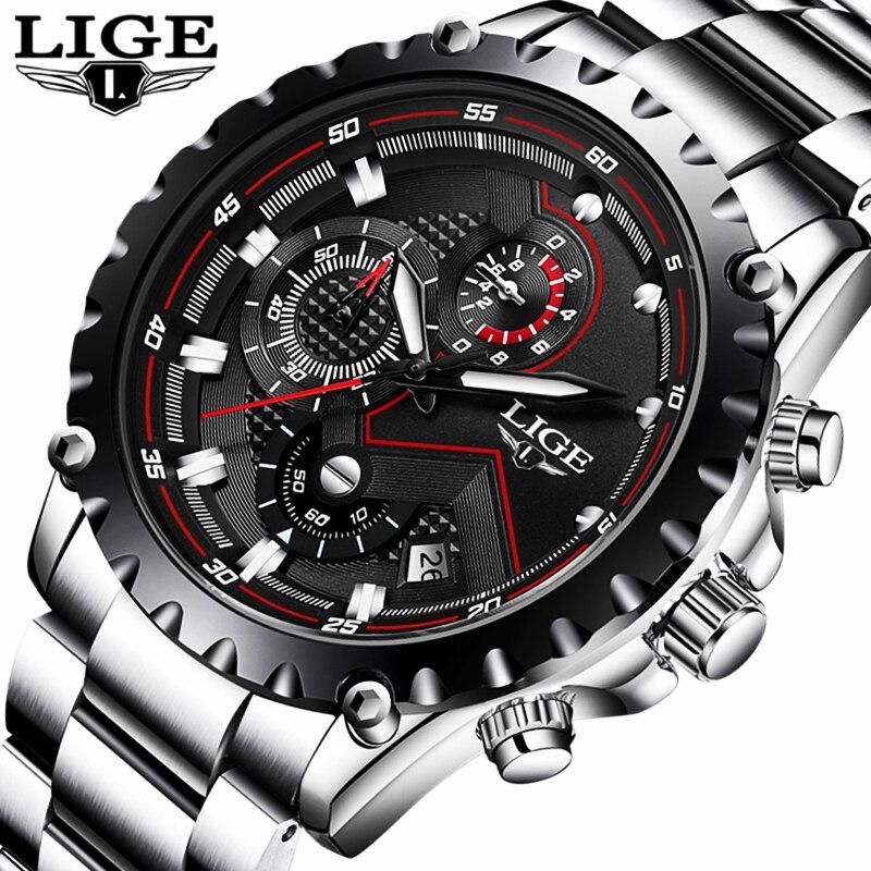 Lige reloj hombres moda sport reloj de cuarzo mens relojes Top marca de lujo de acero completo impermeable de negocios reloj Relogio Masculino