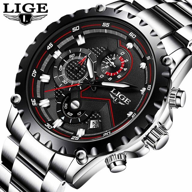 Lige часы Для мужчин модные спортивные кварцевые часы Для мужчин S Часы лучший бренд класса люкс Полный Сталь Бизнес Водонепроницаемый часы Relogio Masculino