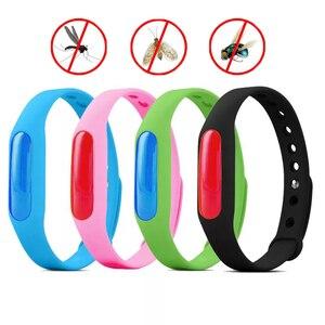 Image 1 - 5Pcs Kleurrijke Milieubescherming Anti Muggen Siliconen Armband Zomer Strip Veilig Voor Kind Muggen Killer