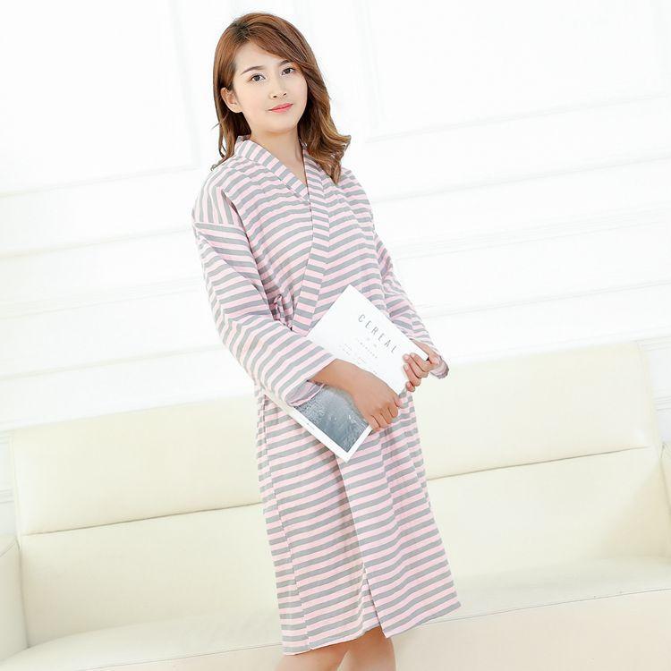 Cotton Double Gauze Striped Couple Bathrobe Thin Nightgown Plus Size Robe Womens Robes Sleepwear Dressing Gown Kimono Robe