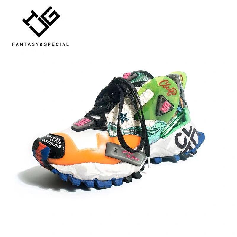 IGU chaussures de sport pour femmes véritable cuir véritable Graffiti baskets femmes plate-forme appartements à lacets bout rond Creepers chaussures pour femmes