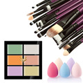 6 Colors Pro Face Concealer Cream Care Camouflage Makeup Palette Tool + 20Pcs Makeup Brush Set + 5 Colors Cosmetic Sponge Puff
