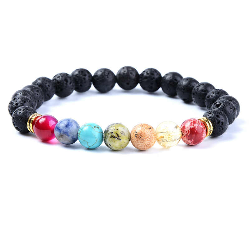 Fashion style jewelry bracelet healing chakra natural beaded colorful volcanic rock bracelet