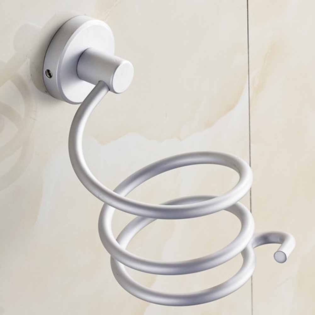 Bathroom Wall-mounted Hair Dryer Stainless Steel Bathroom Shelf Storage Hairdryer Holder Drying Styling Stand Saving Space