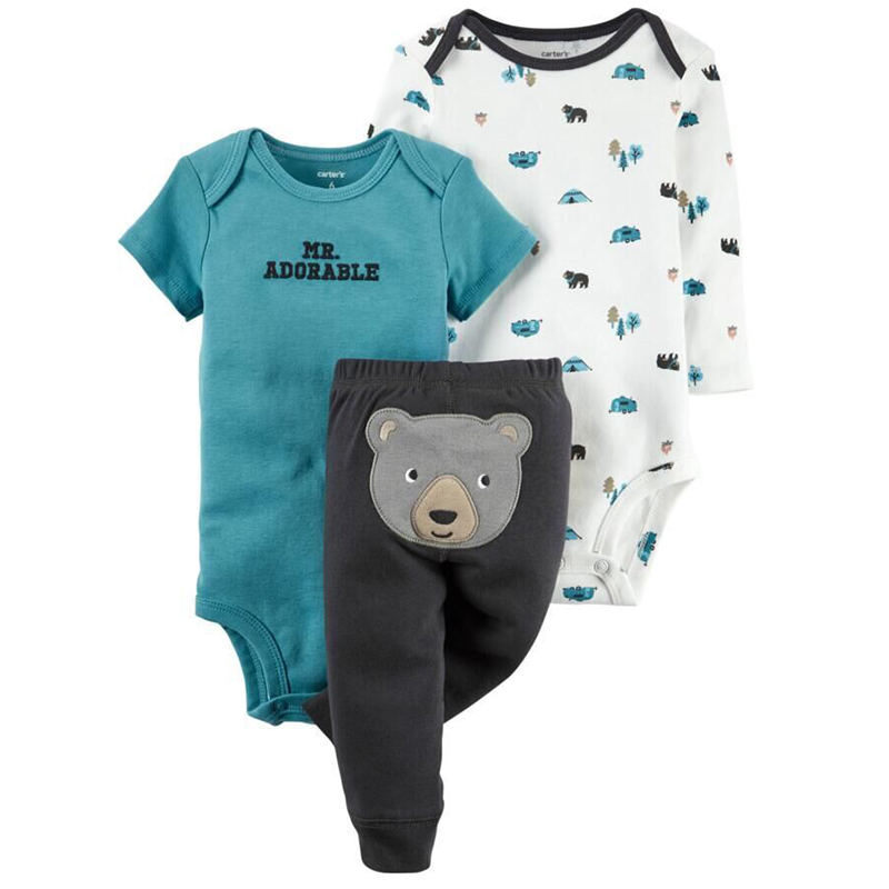 Baby Girls Colthes Bodysuits 3pcs / Set Short / Long Sleeve Pants Baby Boy Clothes Infant Jumpsuits Baby Boys Rompers 3pcs set newborn infant baby boy girl clothes 2017 summer short sleeve leopard floral romper bodysuit headband shoes outfits
