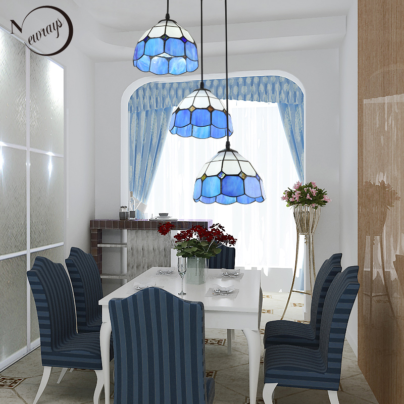 Pastoral loft modern blue glass pendant light LED E27 art deco vintage hanging lamp for living room bedroom kitchen restaurant industrial art deco iron black pendant light led e27 loft vintage hanging lamp with switch for living room restaurant bedroom
