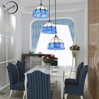 Pastoral loft modern blue glass pendant light LED E27 art deco vintage hanging lamp for living room bedroom kitchen restaurant
