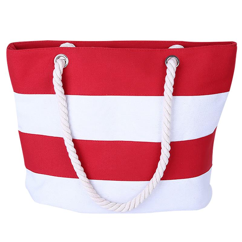 Casual Women Beach Bag Stylish Stripe Pattern Canvas Bag For Girls Ladies Messenger Shoulder Bag Female Tote Sac